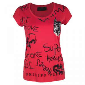 Philipp Plein Couture DC Comics Red Batman Embellished T-Shirt XS