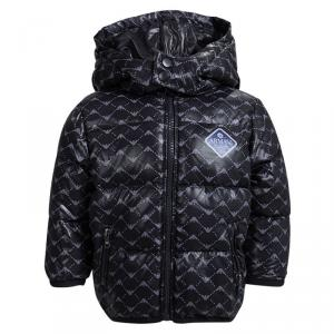 Armani Baby Navy Blue Logo Printed Puffer Jacket 6 Months