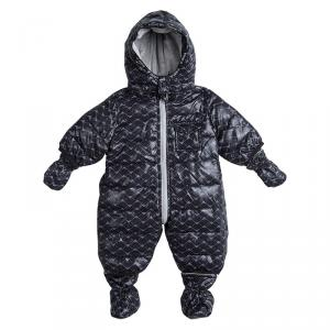 Armani Baby Navy Blue Logo Printed Hooded Snowsuit , Booties and Gloves Set 1 Month