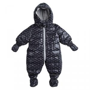 Armani Baby Navy Blue Logo Printed Hooded Snowsuit , Booties and Gloves Set 3 Months