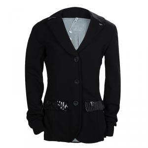 Armani Junior Black Sequinned Faux Pocket Detail Blazer 12 Yrs