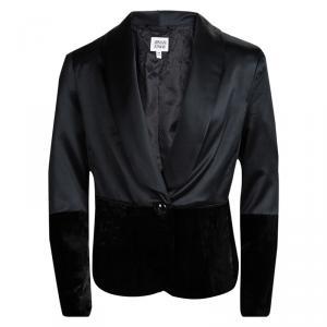 Armani Junior Black Satin Velvet Panel Detail Blazer 10 Yrs