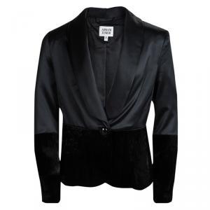 Armani Junior Black Satin Velvet Panel Detail Blazer 8 Yrs