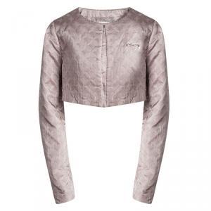 Armani Junior Beige Diamond Jacquard Long Sleeve Bolero Jacket 10 Yrs