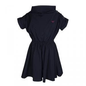 Armani Junior Navy Blue Gathered Waist Detail Dress 8 Yrs