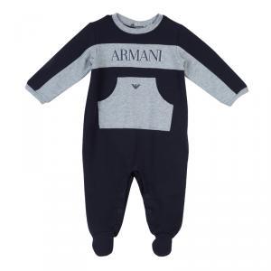 Armani Baby Navy Blue Logo Onesie 6 Months