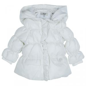 Armani Baby White Quilted Hooded Jacket 6 Months