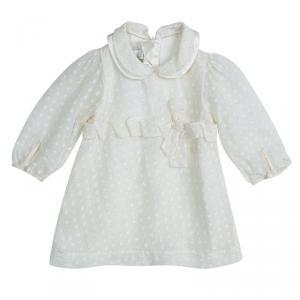 Baby Dior White Silk Dobby Dress 3 Months