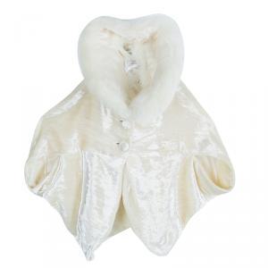 Baby Dior Boutique Cream Velvet Fur Collar Detail Cape 3 Months