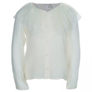 Baby Dior Cream Tulle Ruffle Detail Long Sleeve Silk Blouse 8 Yrs