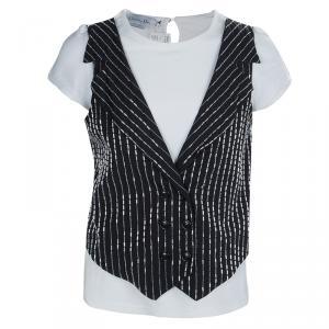 Baby Dior Monochrome Faux Beaded Waistcoat Detail T-Shirt 10 Yrs