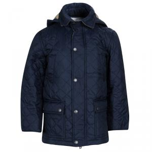 Burberry Children Navy Blue Diamond Quilted Hooded Charlie Jacket 6 Yrs