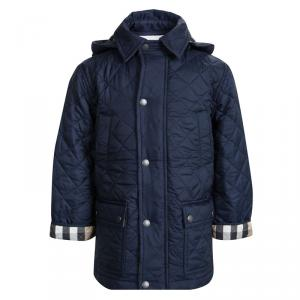 Burberry Children Navy Blue Quilted Hooded Jacket 5 Yrs