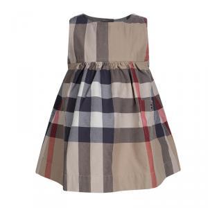 Burberry Beige Novacheck Cotton Sleeveless Dress 6 Months