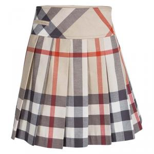 Burberry Children Beige Novacheck Cotton Pleated Mini Skirt 10 Yrs