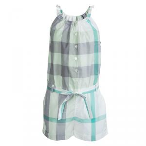 Burberry Children Green Checked Cotton Belted Playsuit 10 Yrs