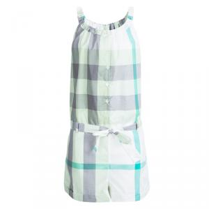 Burberry Children Green Checked Cotton Belted Playsuit 12 Yrs