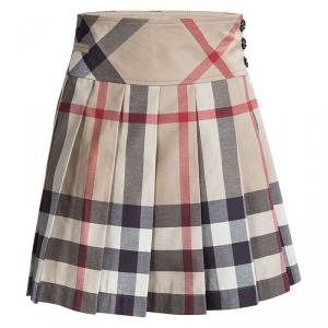 Burberry Children Beige Nova Check Cotton Pleated Mini Skirt 10 Yrs