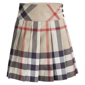 Burberry Children Beige Nova Check Cotton Pleated Mini Skirt 14 Yrs