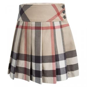 Burberry Children Beige Novacheck Cotton Pleated Mini Skirt 7 Yrs