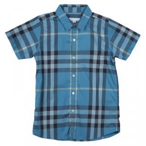Burberry Children Blue Checked Short Sleeve Buttondown Cotton Shirt 10 Yrs
