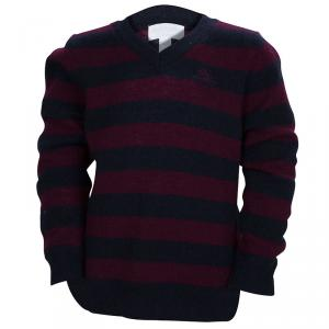 Burberry Children Navy Blue and Burgundy Striped Cashmere V- Neck Sweater 4 Yrs