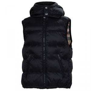 Burberry Children Black Quilted Hooded Down Jacket 4 Yrs