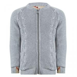 Burberry Grey Cable Knit Zip Front Cardigan 4 Yrs