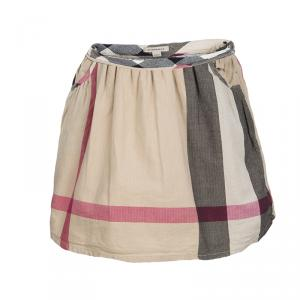 Burberry Novacheck Herringbone Pattern Cotton Gathered Skirt 4 Yrs