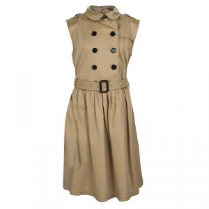 Burberry Children Khaki Cotton Belted Sleeveless Trench Dress 14 Yrs