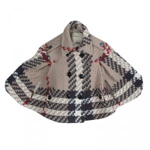 Burberry Beige Textured Wool Poncho 5 Yrs