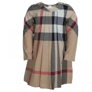 Burberry Beige Novacheck Pleated Long Sleeve Cotton Dress 4 Yrs