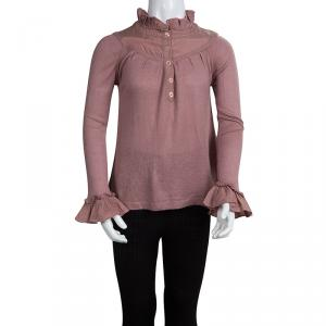 Burberry Dull Pink Knit Ruffle Detail Long Sleeve Top 4 Yrs