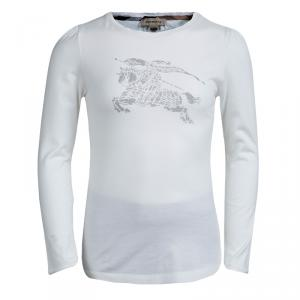 Burberry White Logo Print Long Sleeve T-Shirt 6 Yrs