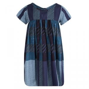 Burberry Children Blue Printed Cotton Short Sleeve Gathered Dress 8 Years
