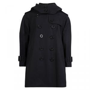 معطف بربري قطن أسود بصفين أزرار وهودي 4 سنوات
