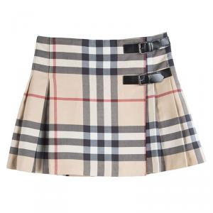 Burberry Novacheck Pleated Buckle Detail Wraparound Skirt 8Yrs