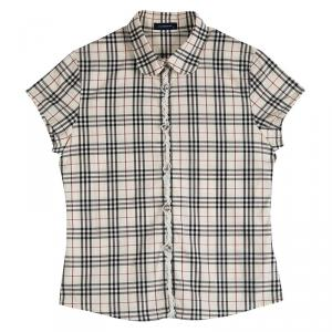 Burberry Nova Check Printed Cotton Trim Detail Short Sleeve Shirt 14 Yrs