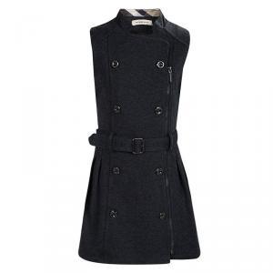فستان بربري رصاصي بصفين أزرار بلا أكمام وبحزام 5-6 سنوات
