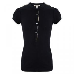 Burberry Black Cotton Nova Check Shoulder Detail Top 8 Yrs