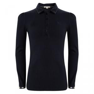 Burberry Navy Blue Cotton Cuff Trim Detail Long Sleeve Top 8 Yrs