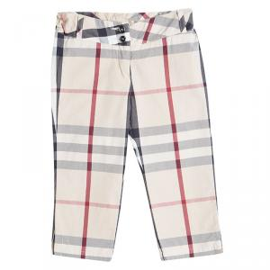 Burberry Beige Cotton Nova Check Print Capri Pants 4 Yrs