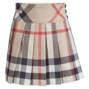Burberry Children Beige Novacheck Cotton Pleated Mini Skirt 12 Yrs