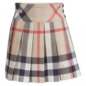 Burberry Children Beige Novacheck Cotton Pleated Mini Skirt 8 Yrs