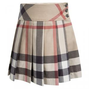 Burberry Children Beige Novacheck Cotton Pleated Mini Skirt 4 Yrs