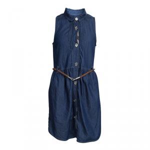 Burberry Indigo Denim Sleeveless Belted Shirt Dress 8 Yrs