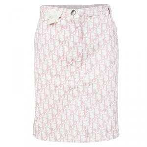 Dior White and Pink Monogrammed Denim Skirt 12 Yrs