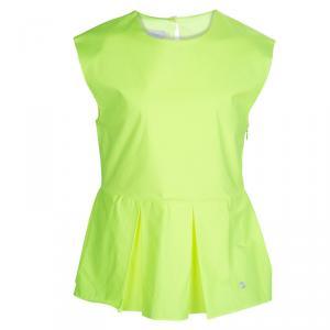 Dior Neon Yellow Cotton Box Pleat Detail Sleeveless Peplum Top 10 Yrs
