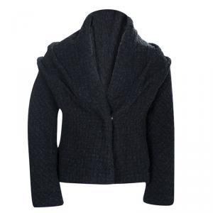 Dior Dark Grey Basketweave Textured Wool Jacket 6 Yrs