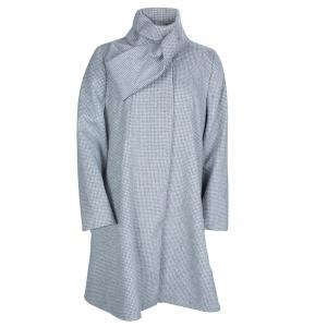 Dior Grey Houndstooth Angora Wool A-Line Coat 10 Yrs
